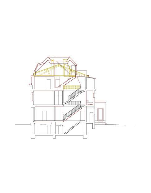 Querschnitt Mehrfamilienhaus Holbeinstrasse de Beer Merz Architekten BSA