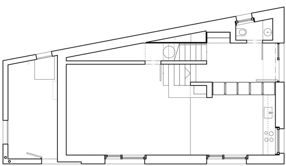 Grundriss Erdgeschoss Stöckli in Bachenbülach von Hansjörg Betschart,   Architektur + Fotografie