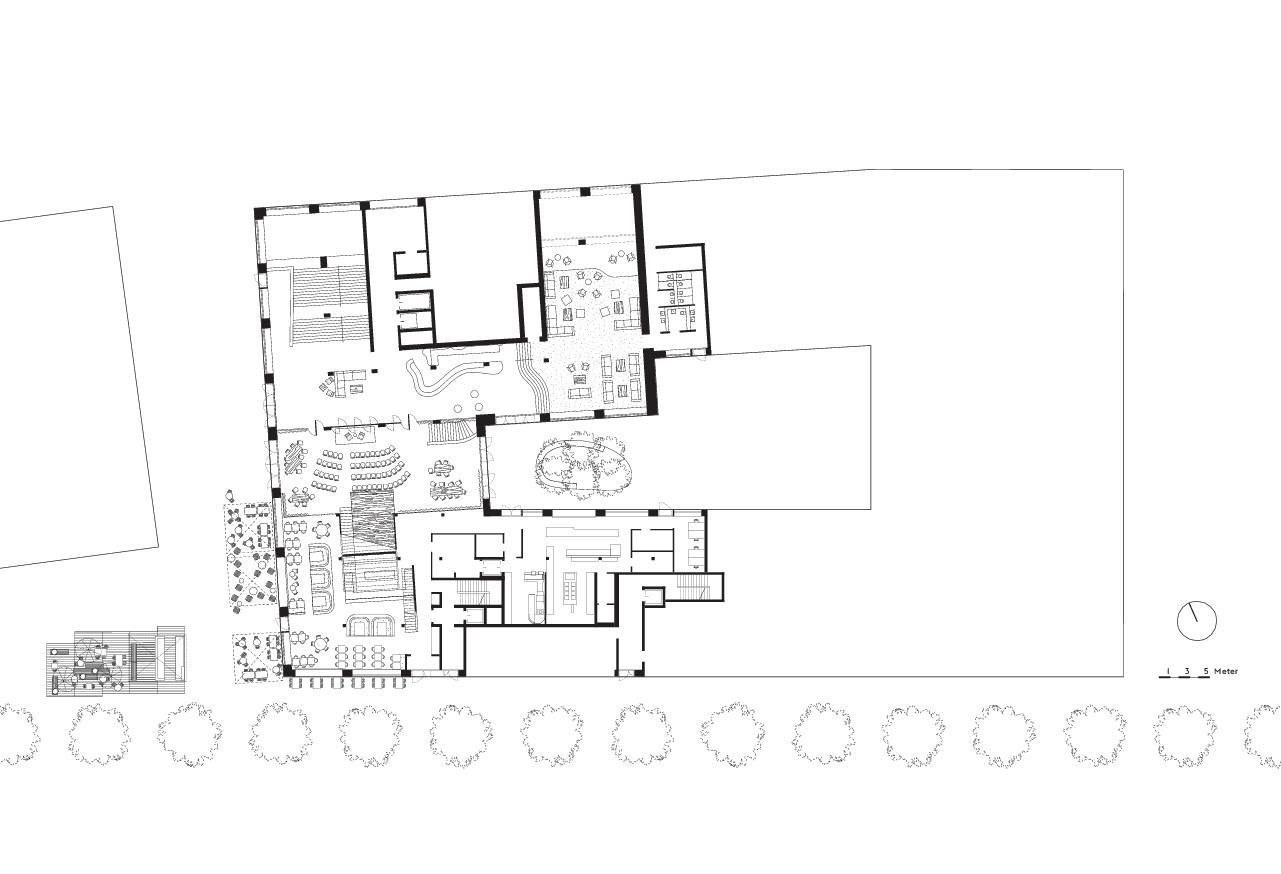 Grundriss Erdgeschoss Kulturhaus Kosmos in Zürich von E2A Piet Eckert und Wim Eckert Architekten ETH BSIA SIA AG