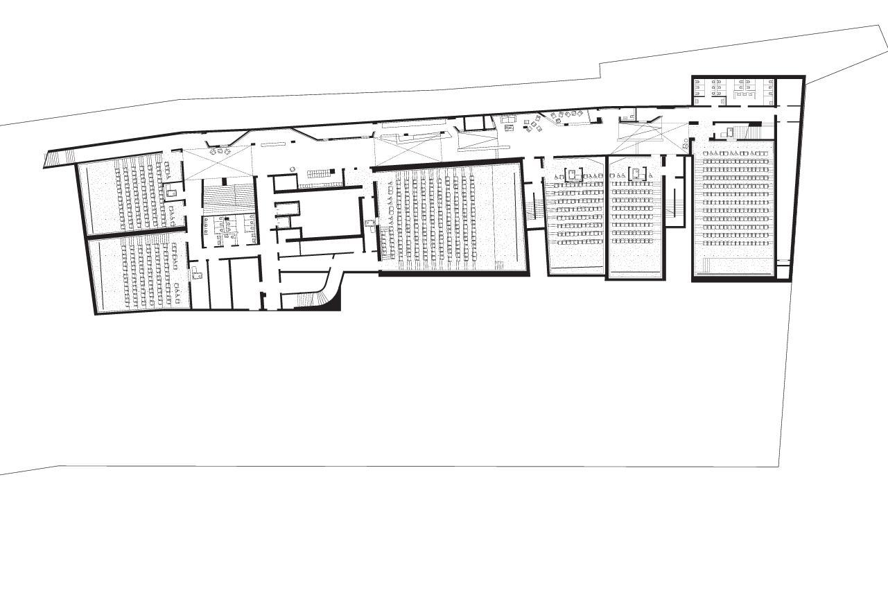 Grundriss Untergeschoss Kulturhaus Kosmos in Zürich von E2A Piet Eckert und Wim Eckert Architekten ETH BSIA SIA AG