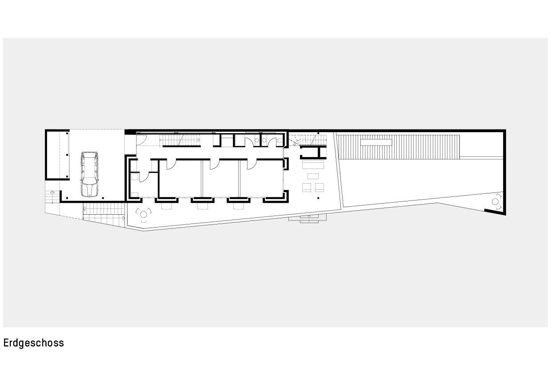 Grundriss Erdgeschoss Haus zum Verweilen von Della Giacoma + Krummenacher Architekten AG
