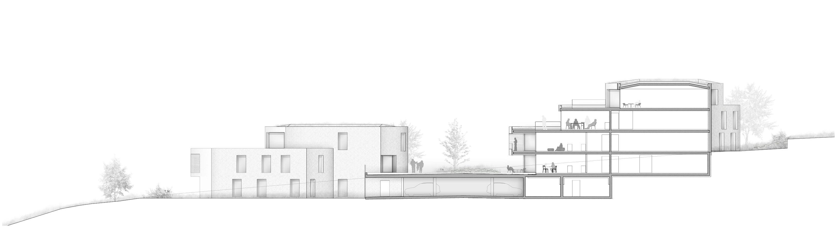 Coupe Wohnanlage Domaine de Vitis de IPAS Architectes SA