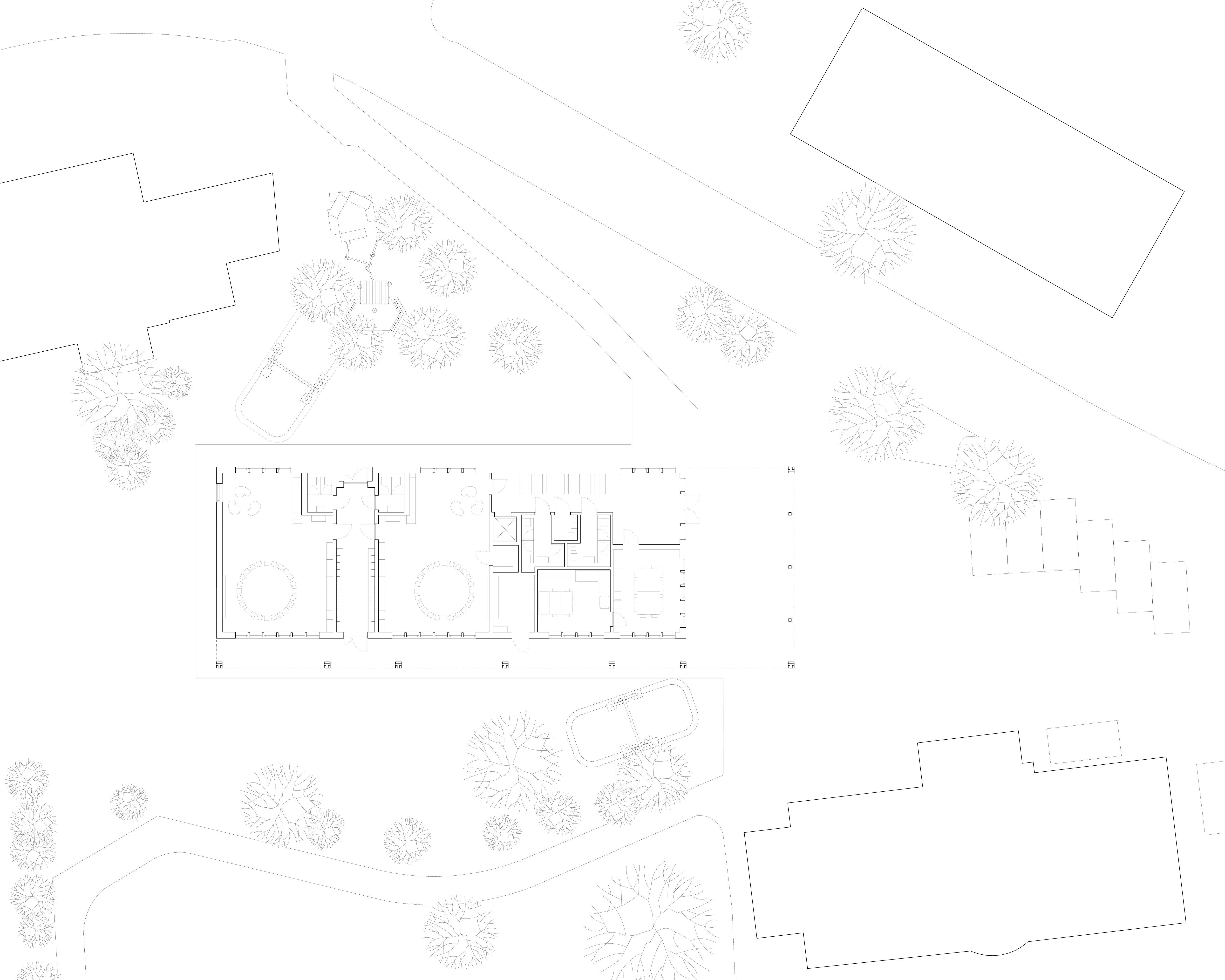 Grundriss Erdgeschoss Schulhaus Alp II, Wangen b. Olten von werk1 architekten und planer ag