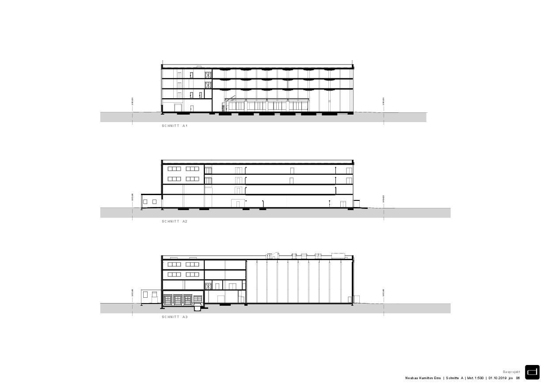Coupes A Produktionsgebäude Hamilton Ems de DOMENIG ARCHITEKTEN AG