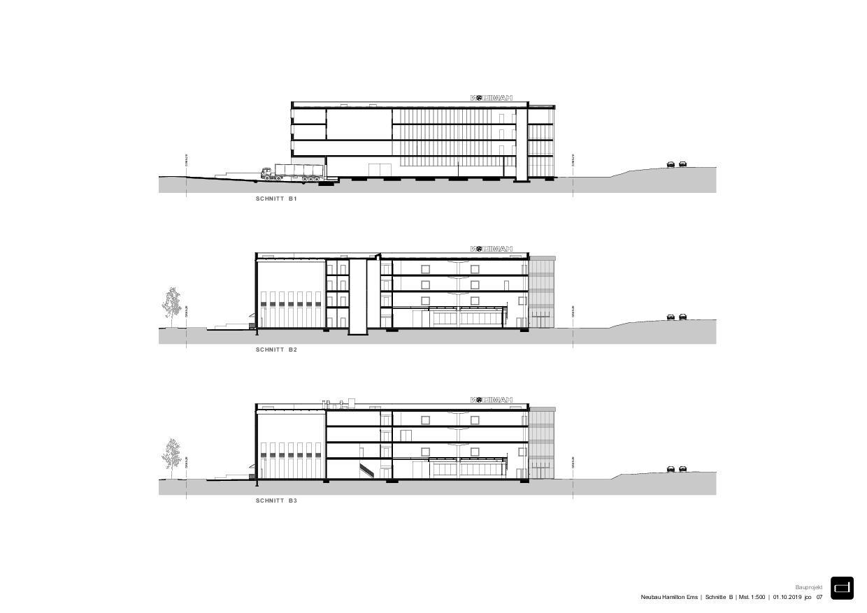 Coupes B Produktionsgebäude Hamilton Ems de DOMENIG ARCHITEKTEN AG