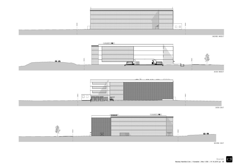 Façades Produktionsgebäude Hamilton Ems de DOMENIG ARCHITEKTEN AG