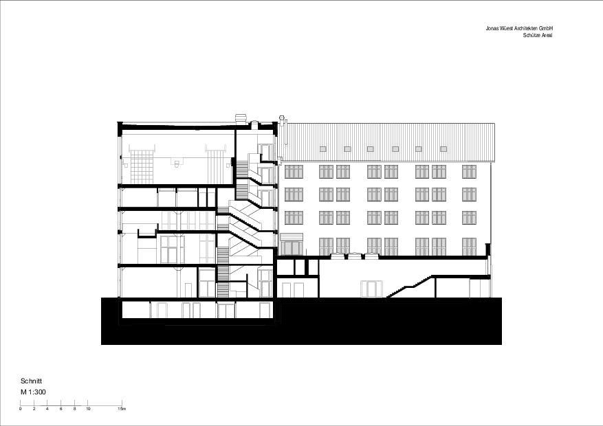 Schnitt SchützeAreal von Jonas Wüest Architekten GmbH