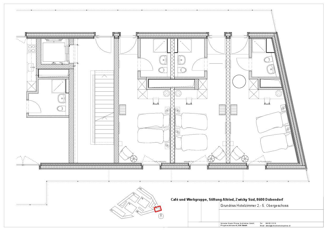Drei Doppelzimmer Hotel Zwiback in Dübendorf von Schneider Studer Primas GmbH