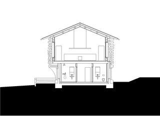 Schnitt A 1:200 Stall-Haus, Lumbrein von Morger + Dettli Architekten AG