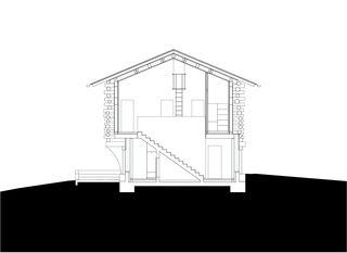 Schnitt B 1:200 Stall-Haus, Lumbrein von Morger + Dettli Architekten AG
