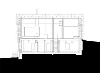 Schnitt C 1:200 Stall-Haus, Lumbrein von Morger + Dettli Architekten AG