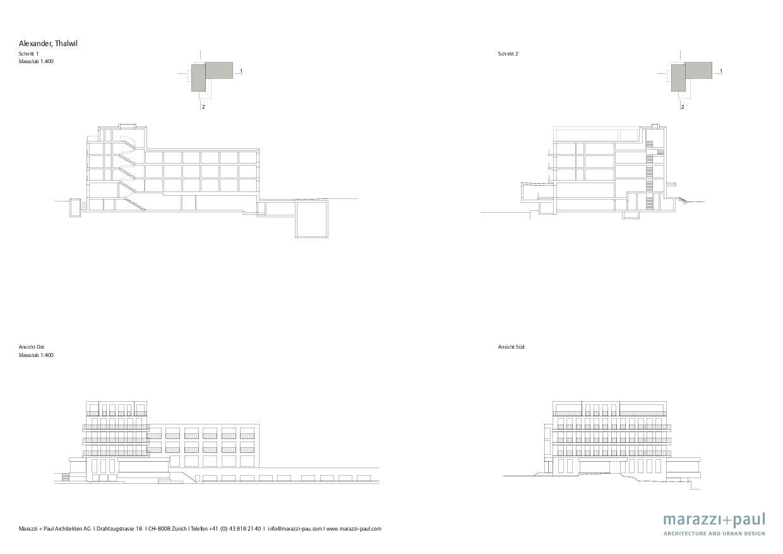 Coupe longitudinale Boutiquehotel Alex de Marazzi + Paul Architekten AG