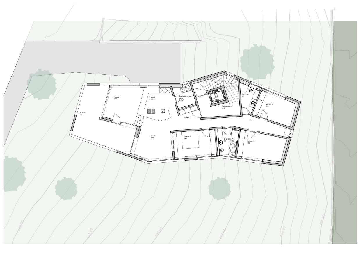 Grundriss 1.OG Haus Obergass von uli mayer urs hüssy architekten ETH SIA AG