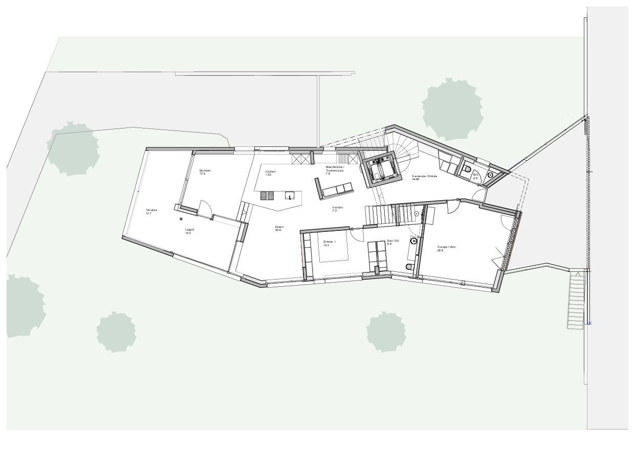 Grundriss 2.OG Haus Obergass von uli mayer urs hüssy architekten ETH SIA AG