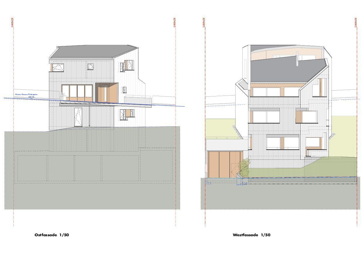 Ansicht Ost/West Haus Obergass von uli mayer urs hüssy architekten ETH SIA AG