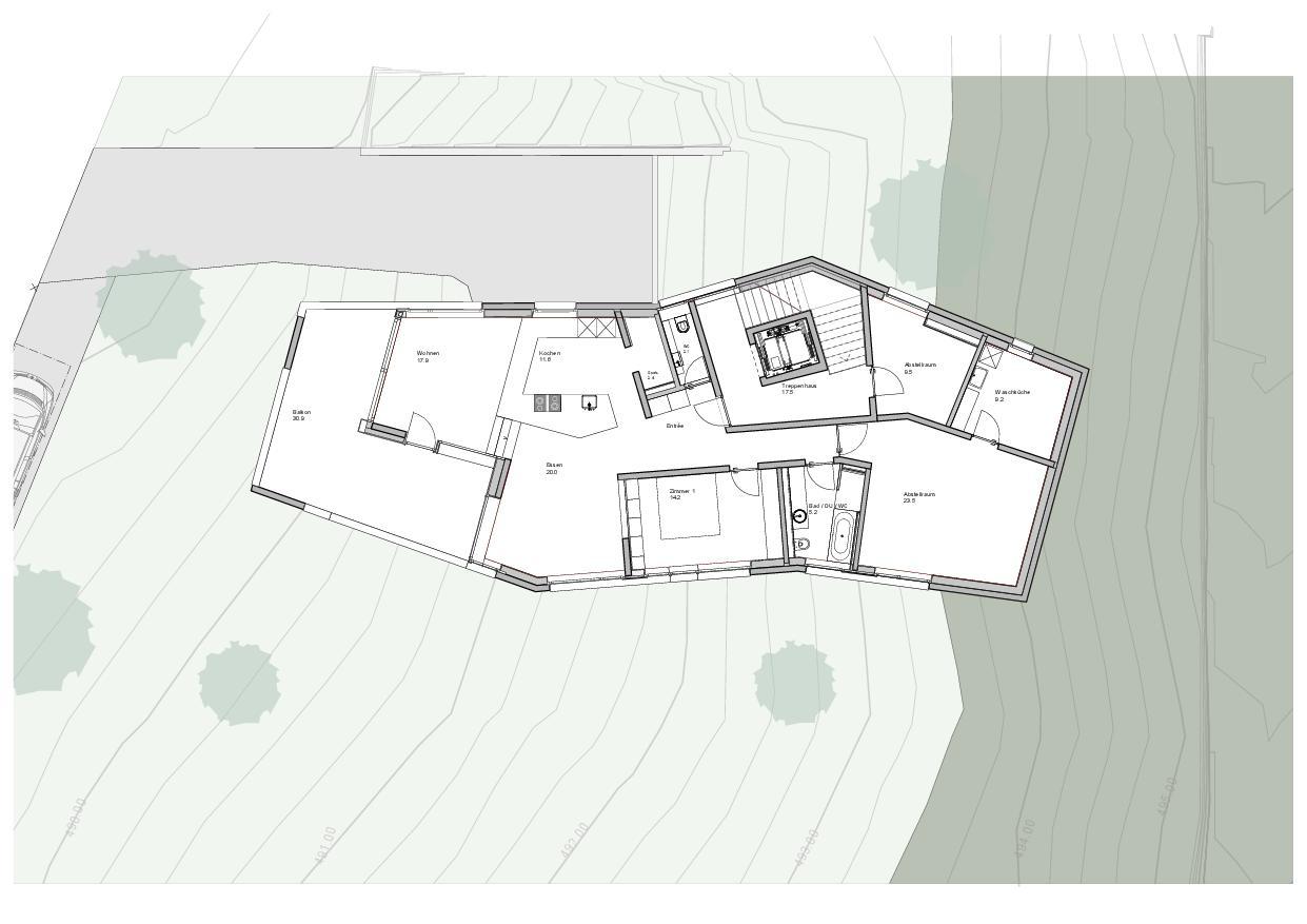 Plan du rez-de-chaussée  Haus Obergass de Dipl. Architekten ETH/SIA<br/>