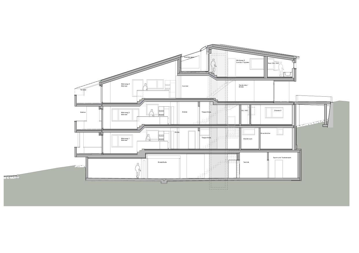 Coupe longitudinale 1 Haus Obergass de Dipl. Architekten ETH/SIA<br/>