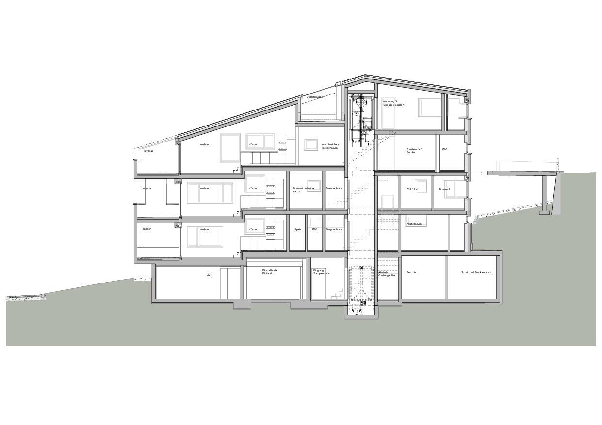 Längsschnitt 2 Haus Obergass von uli mayer urs hüssy architekten ETH SIA AG