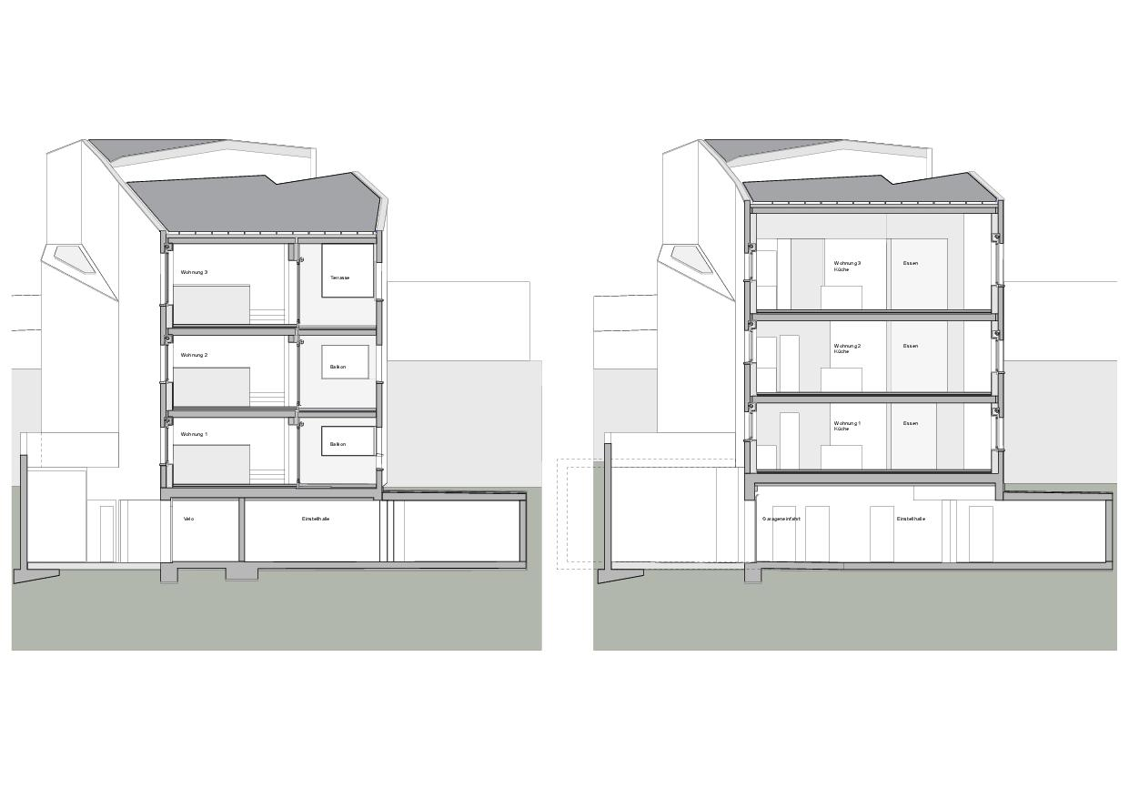 Querschnitte Haus Obergass von uli mayer urs hüssy architekten ETH SIA AG