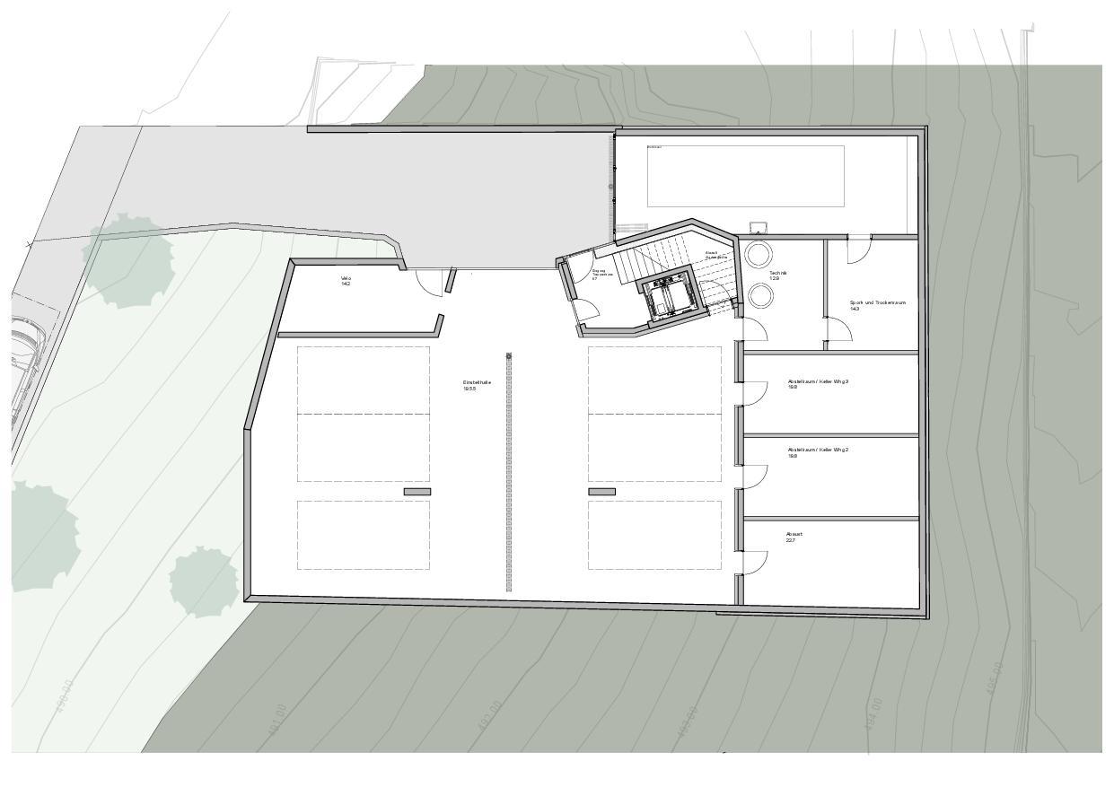Grundriss Untergeschoss Haus Obergass von uli mayer urs hüssy architekten ETH SIA AG