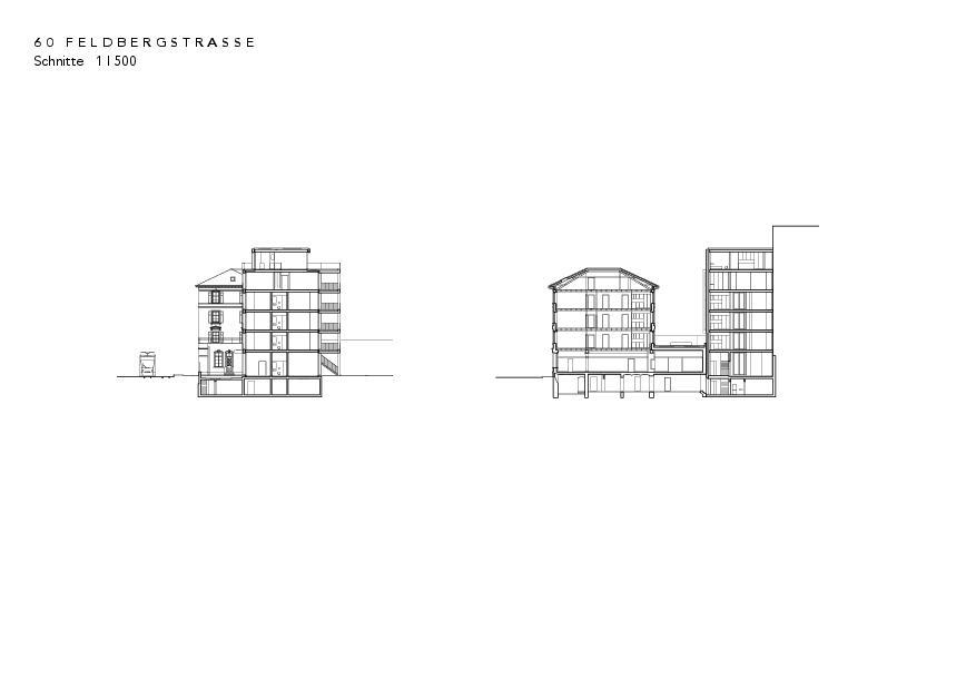 Schnitte Instandsetzung und Neubau Feldbergstrasse von Architekturbüro<br/>