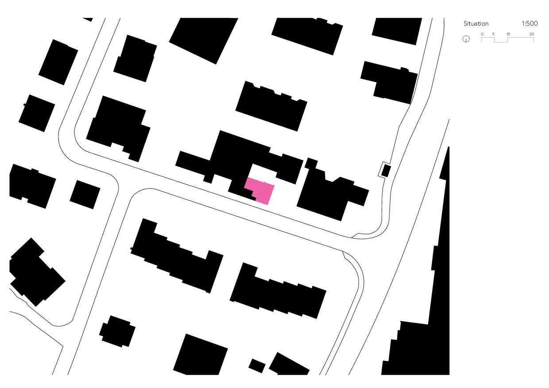 Situation / Schwarzplan Umbau Gewerbe zu Studio von Wir Architekten GmbH