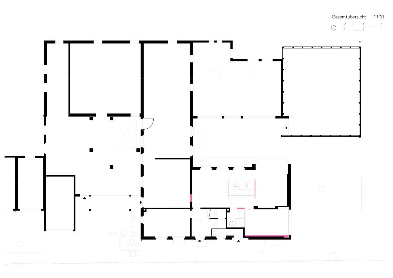 Grundriss Übersicht Umbau Gewerbe zu Studio von Wir Architekten GmbH