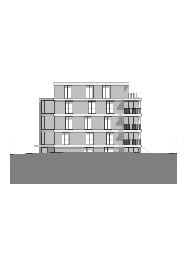 Westfassade Wohnbau am Entlisberg von Melliger & Neugeboren Architekten GmbH