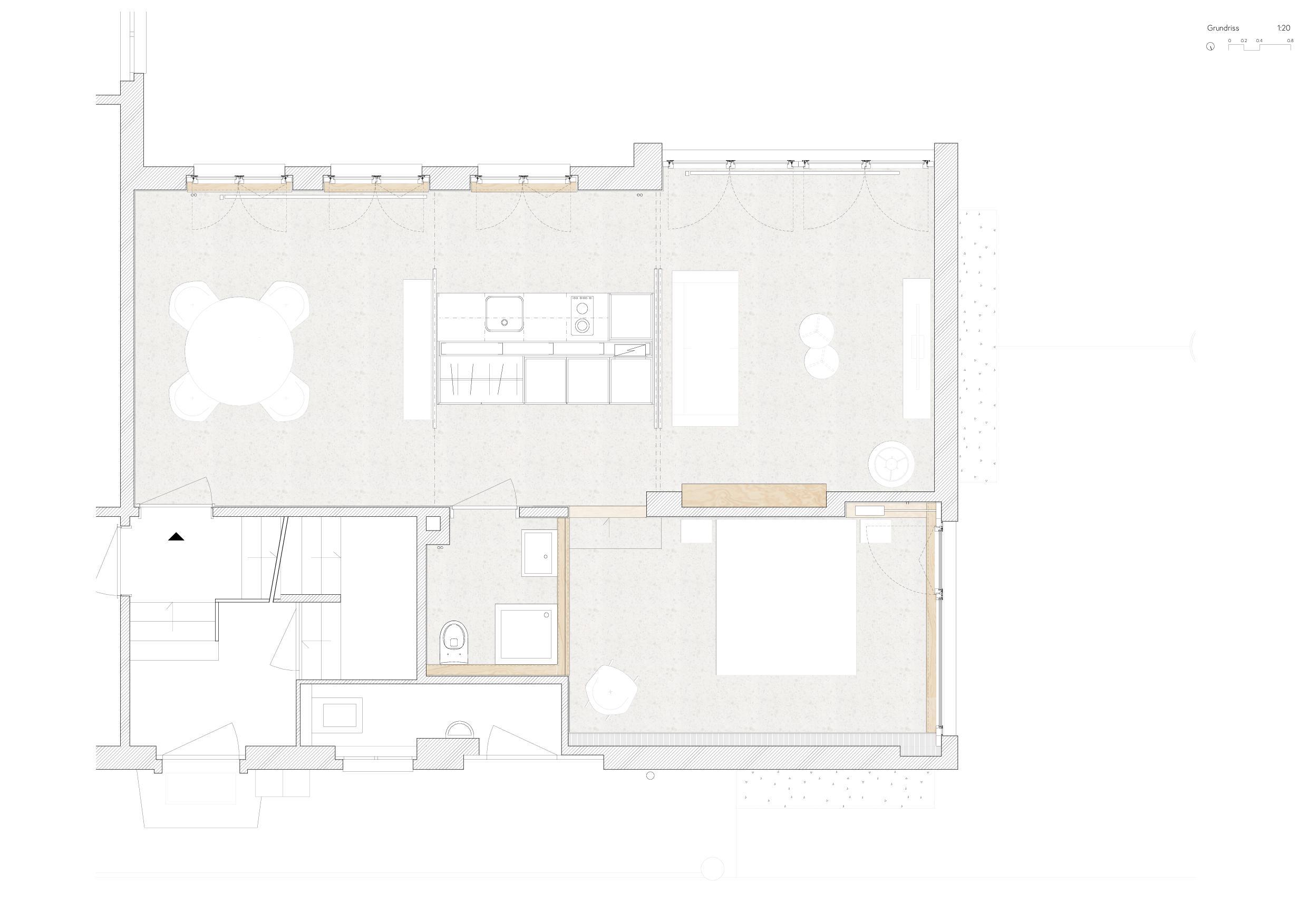 Grundriss Wohnung Umbau Gewerbe zu Studio von Wir Architekten GmbH