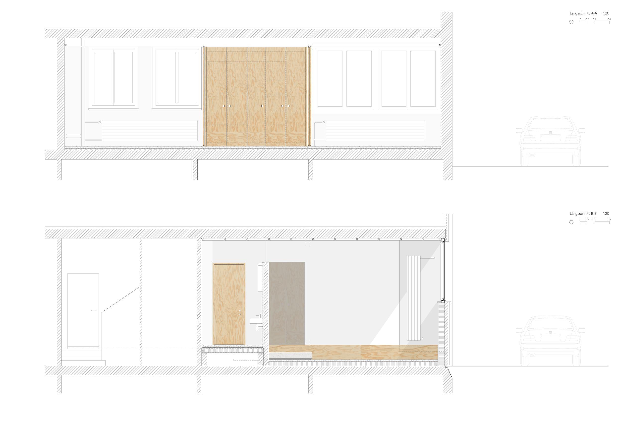 Längsschnitte Umbau Gewerbe zu Studio von Wir Architekten GmbH