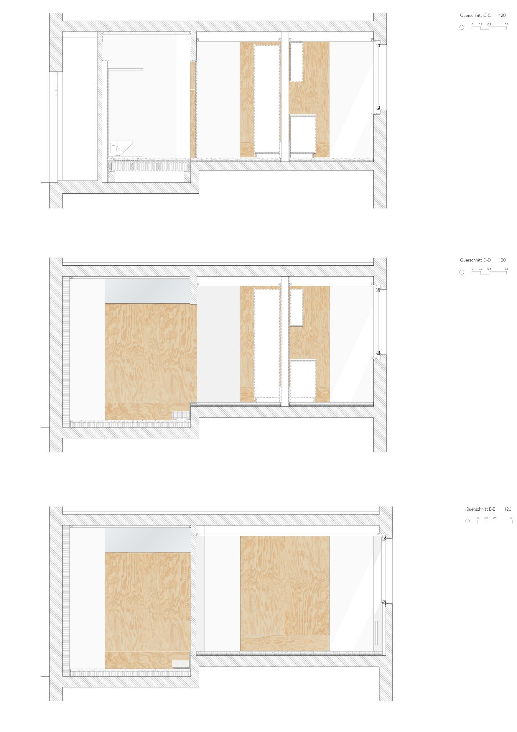 Querschnitte Umbau Gewerbe zu Studio von Wir Architekten GmbH