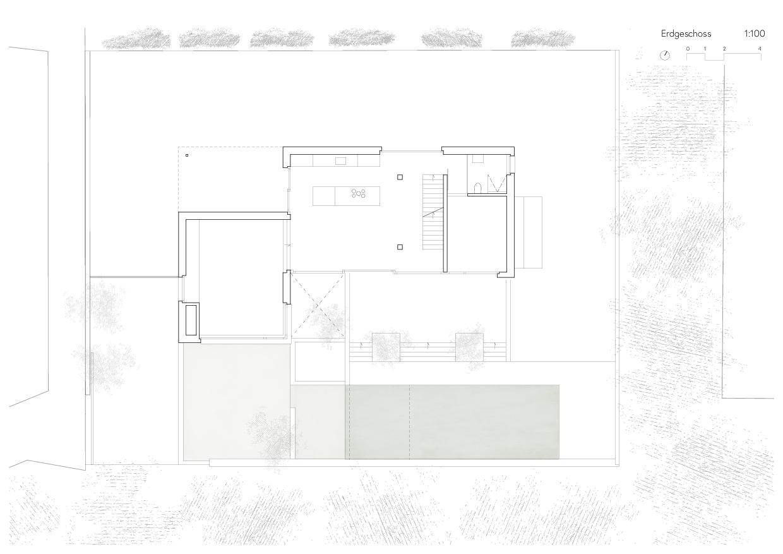 Erdgeschoss Ersatzneubau Einfamilienhaus von Wir Architekten GmbH