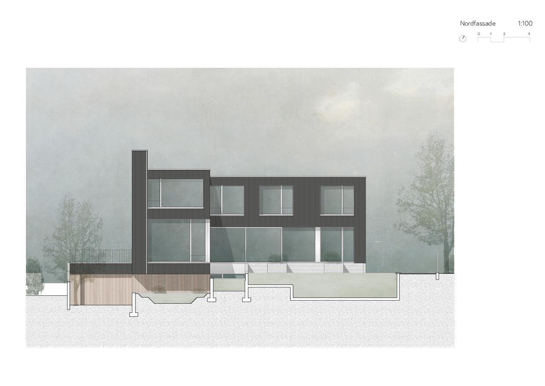 Nordfassade Ersatzneubau Einfamilienhaus von Wir Architekten GmbH