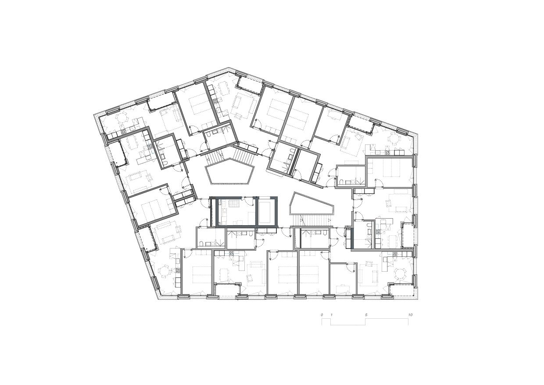 Niveau 2-4 5egg Flawil de Brechbuehler Walser Architekten