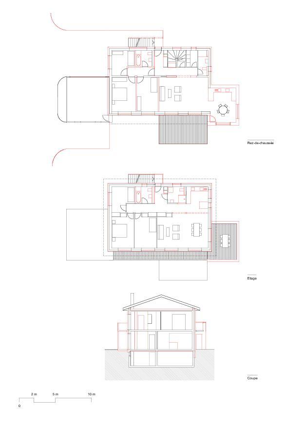 Plans Transformation et assainissement d'une maison individuelle/appartement et isolation thermique de Lutz associés Sàrl