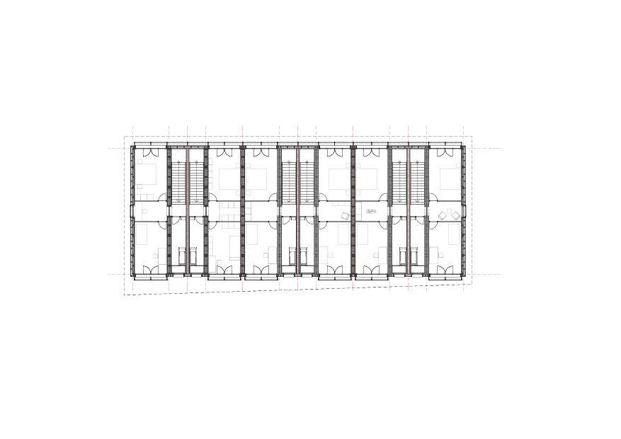 plan premier étage Reihenhaus aus Betonmodulen de moos giuliani herrmann architekten ag