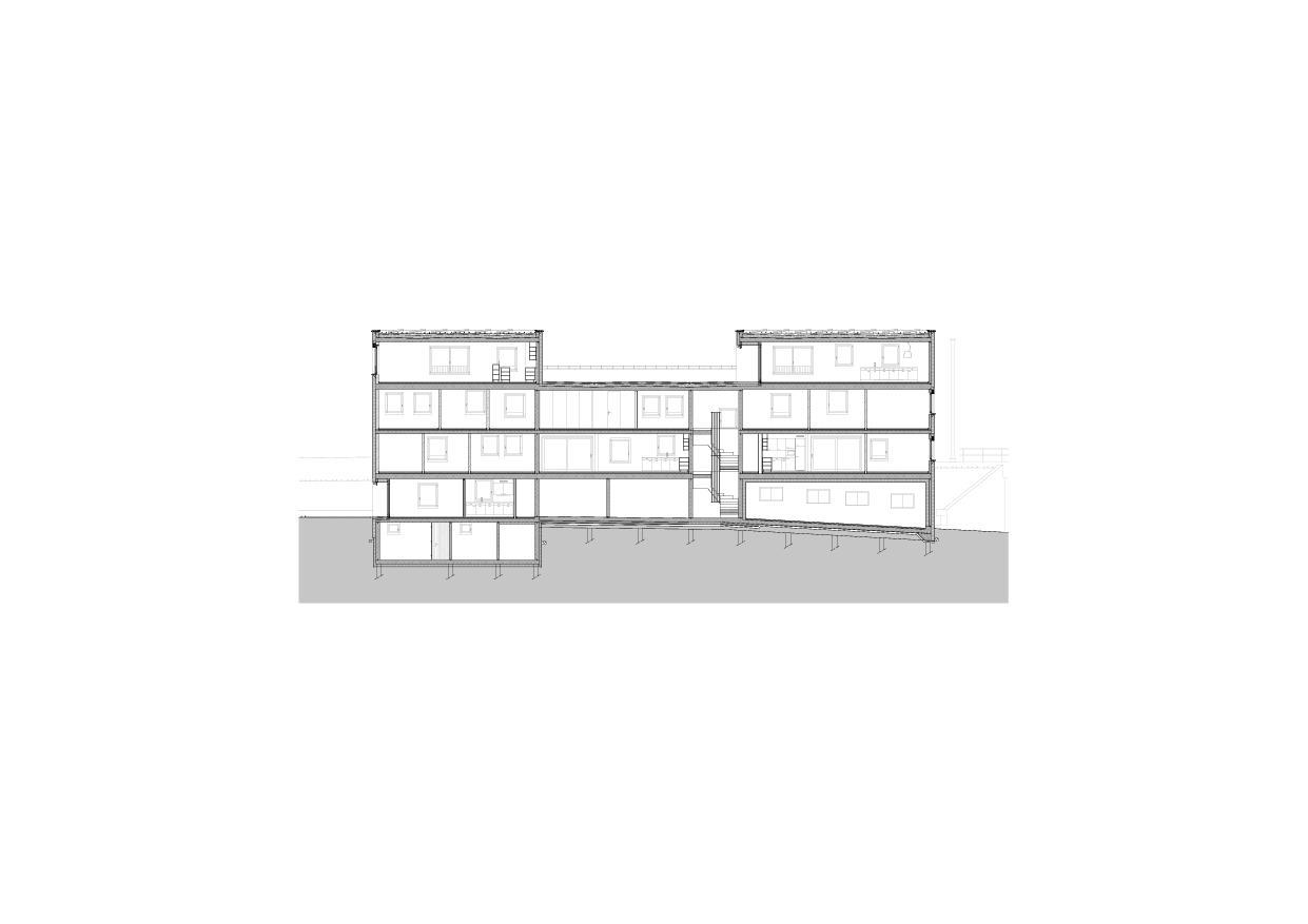 MFH Mühlegasse, Baar -  Schnitt Mehrfamilienhaus Mühlegasse von Röösli Architekten AG