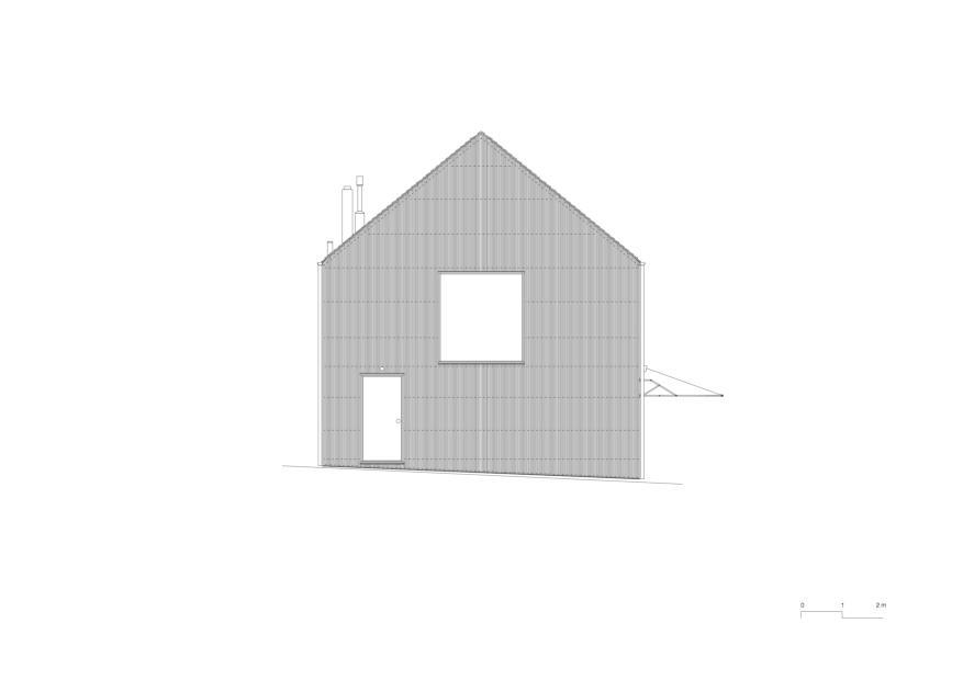Façade est 1:50 KLEINES HAUS de Lukas Lenherr Architektur ETH SIA
