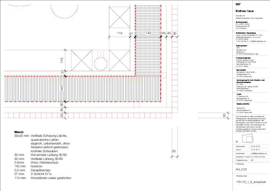 Détail 1:5 KLEINES HAUS de Lukas Lenherr Architektur ETH SIA