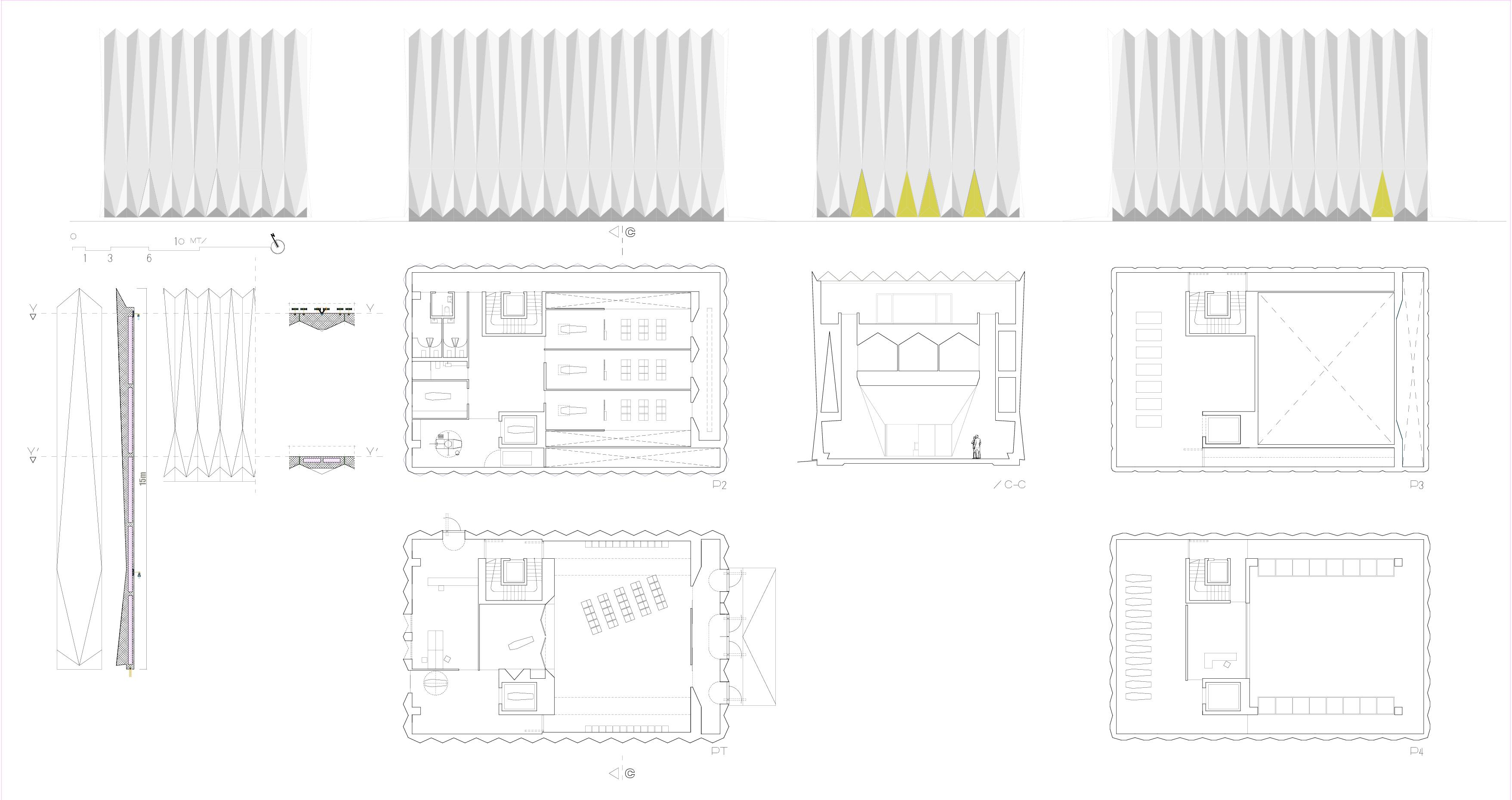 Grundrisse, Schnitte und Fassade Centro Funerario Bellinzona - CAFUBE SA von Studio d'architettura<br/>