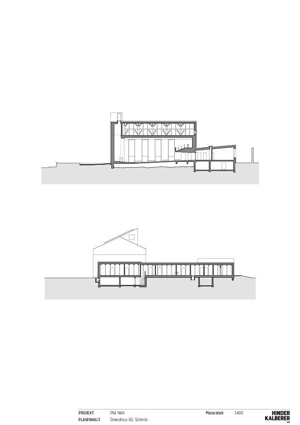 Coupe à travers des pièces annexes et coupe à travers la salle paroissiale  Neuapostolische Kirche Winterthur de Hinder Kalberer Architekten GmbH