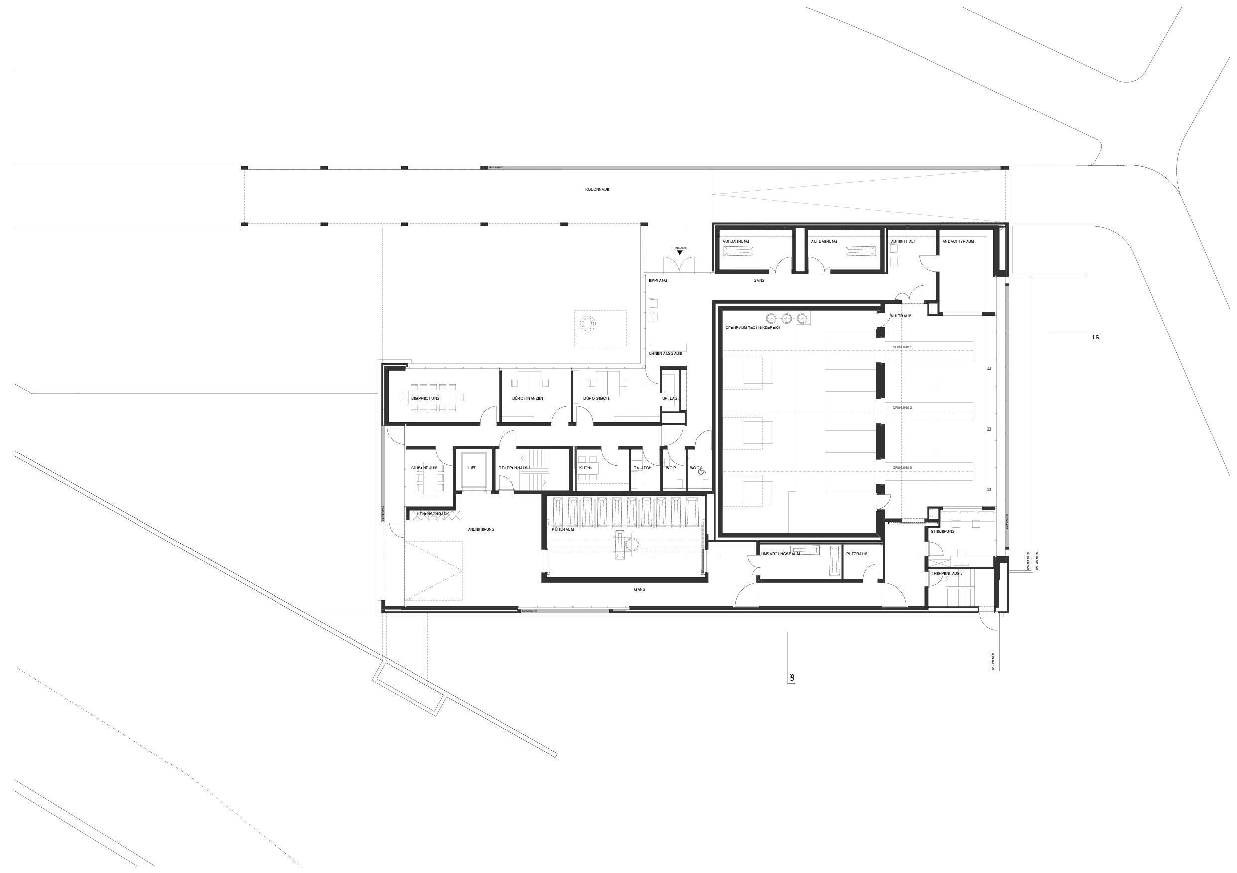 Grundriss Erdgeschoss Krematorium Feldli, St.Gallen von Architekt BSA SIA<br/>