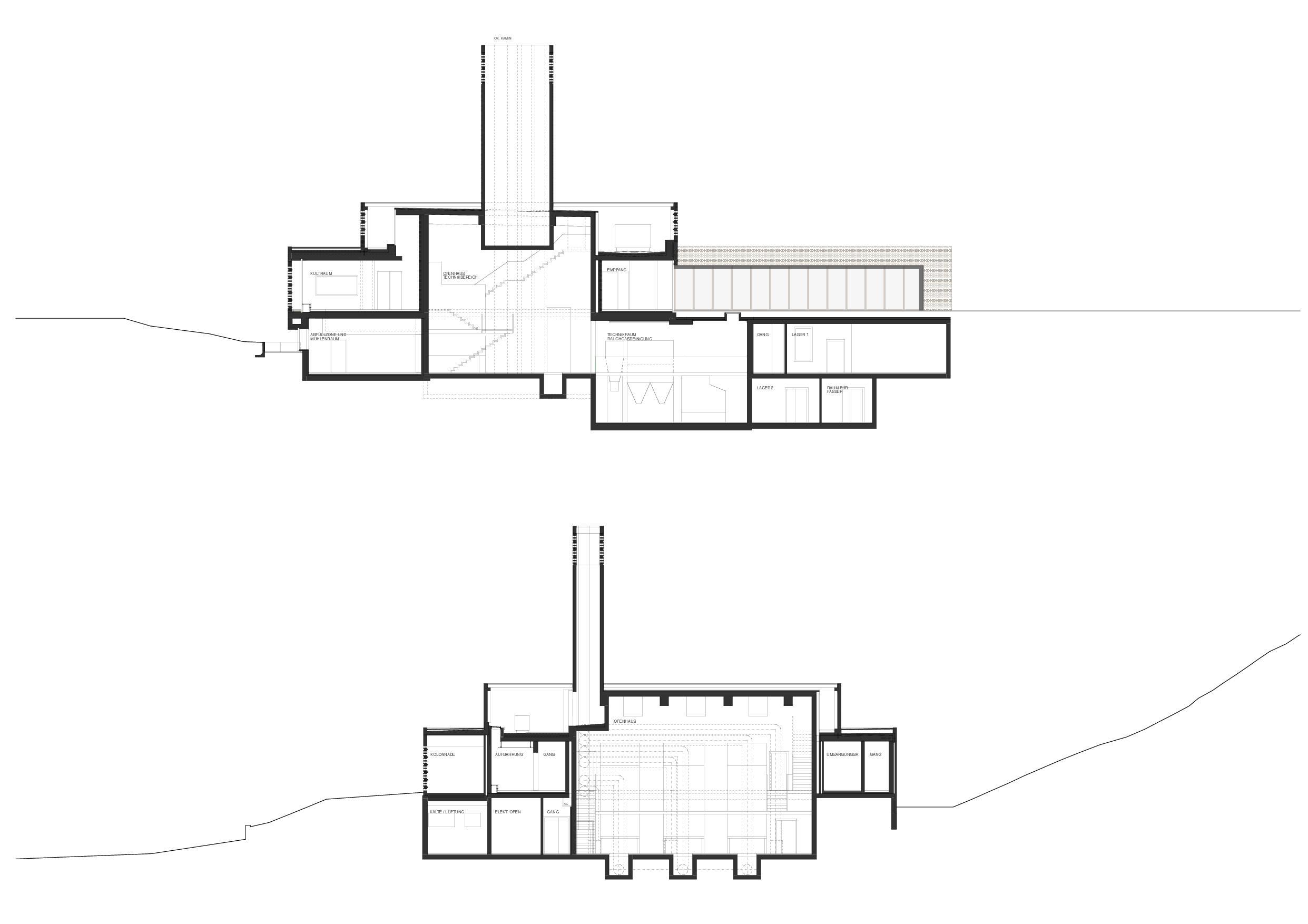 Längs- und Querschnitt Krematorium Feldli, St.Gallen von Architekt BSA SIA<br/>