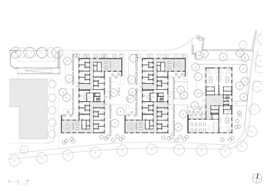 Erdgeschoss Wohnheim mit Atelierhaus Stiftung MBF von Schmid Ziörjen Architektenkollektiv