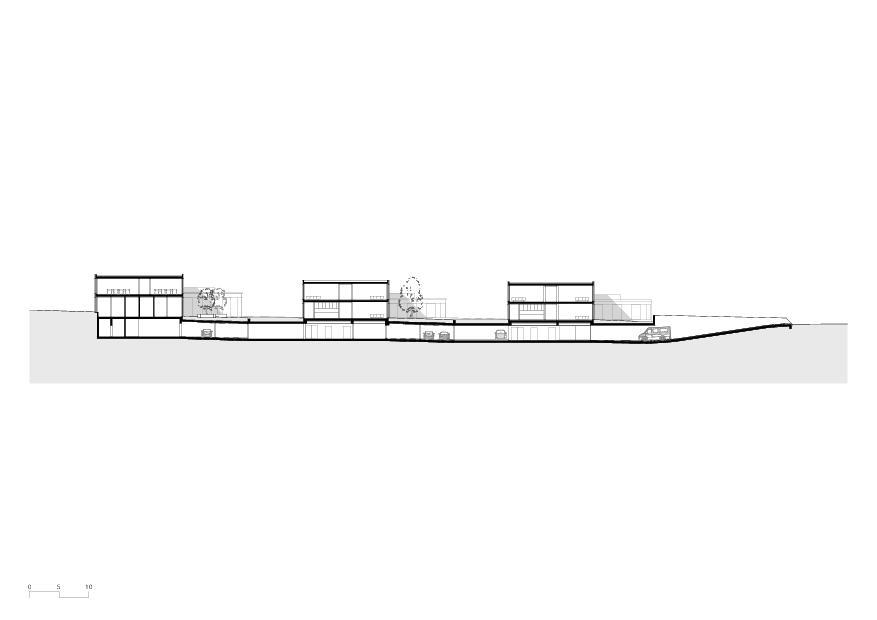 Gesamtschnitt Wohnheim mit Atelierhaus Stiftung MBF von Schmid Ziörjen Architektenkollektiv