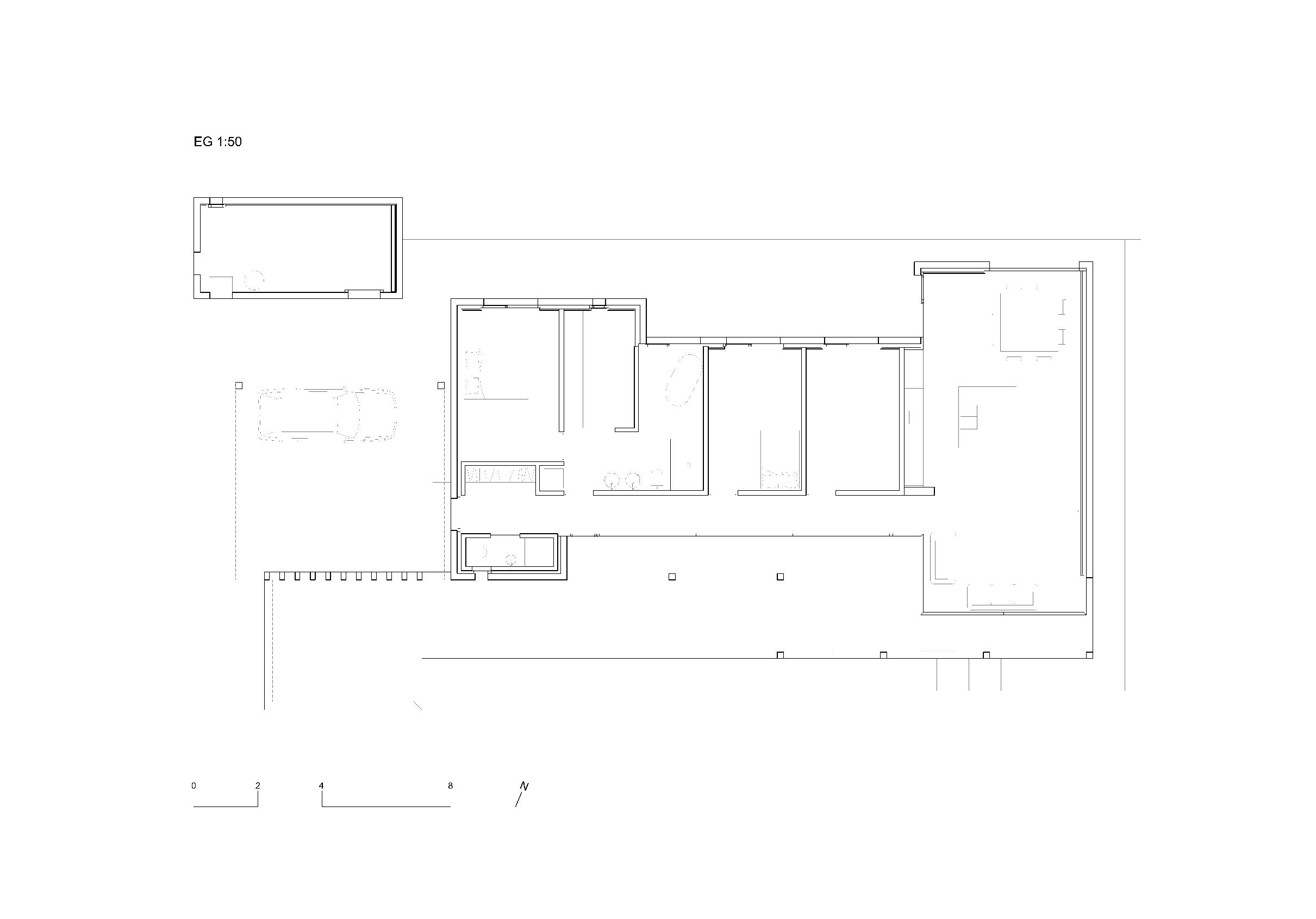Grundriss 1:50 Ersatzneubau - Bungalow Mediterrano von Studio Baumann