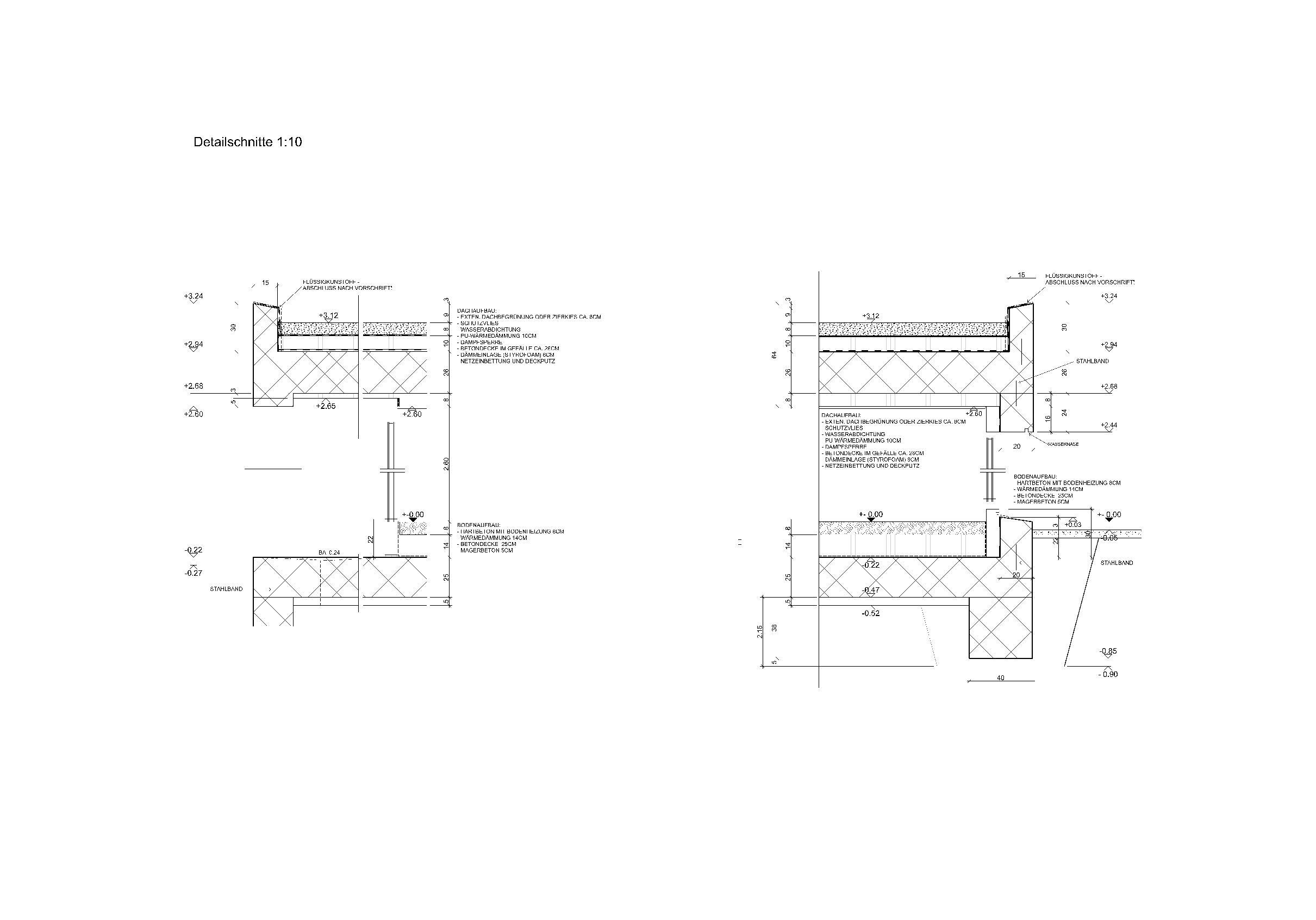 Detailschnitte 1:10 Ersatzneubau - Bungalow Mediterrano von Studio Baumann