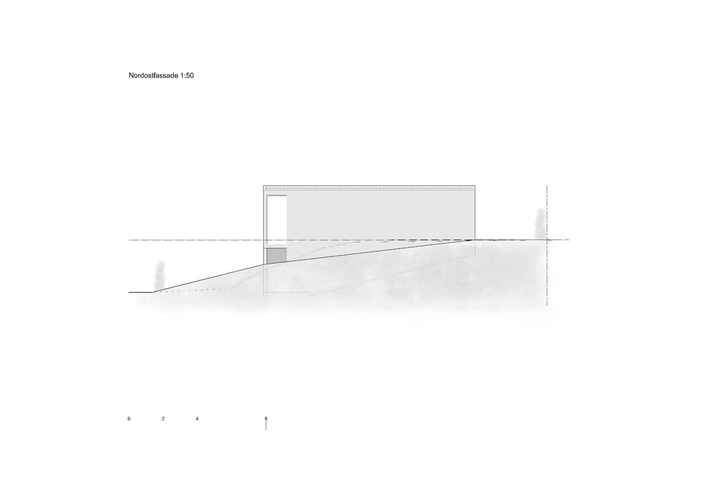 Nordostfassade 1:50 Ersatzneubau - Bungalow Mediterrano von Studio Baumann