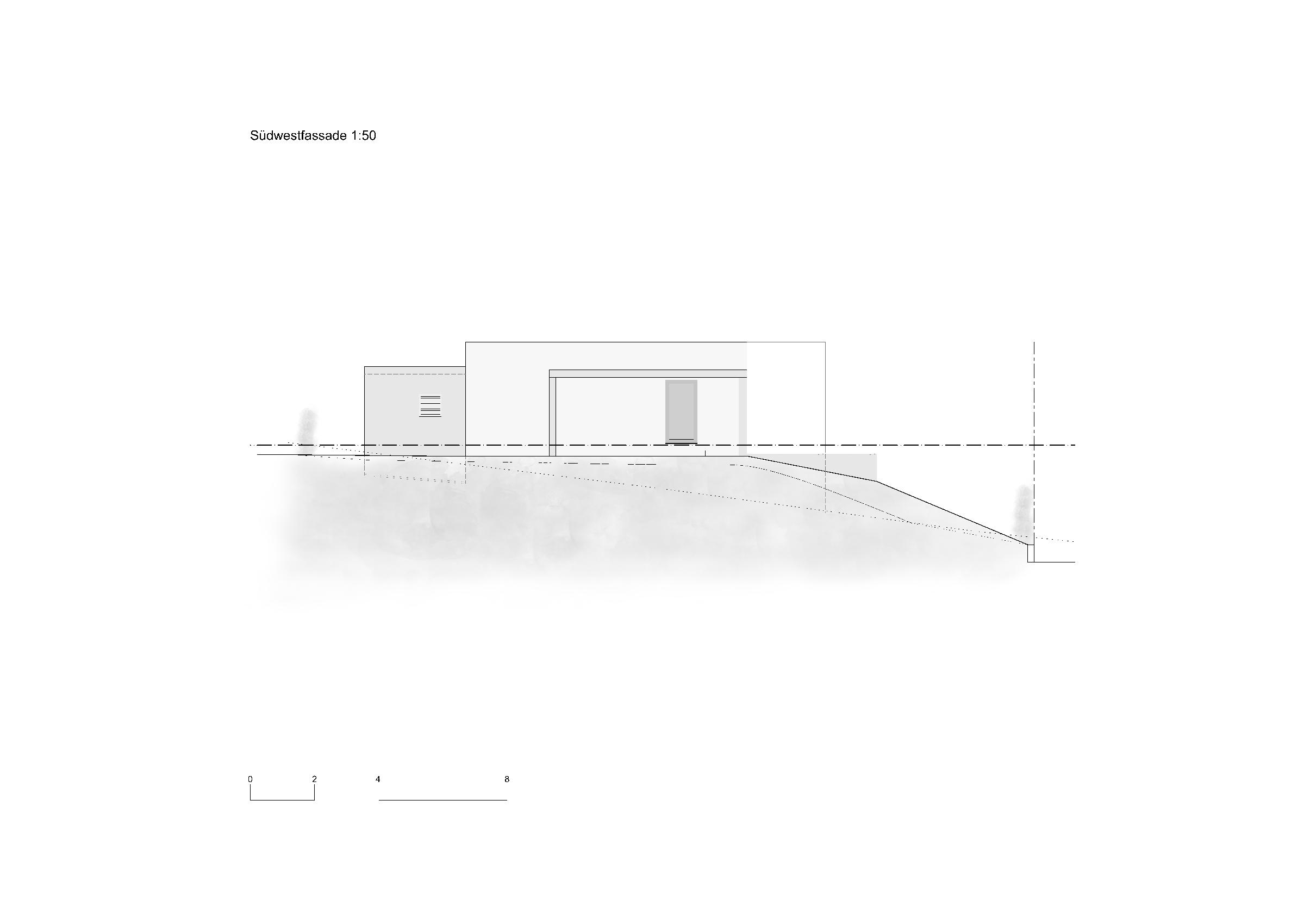 Südwestfassade 1:50 Ersatzneubau - Bungalow Mediterrano von Studio Baumann