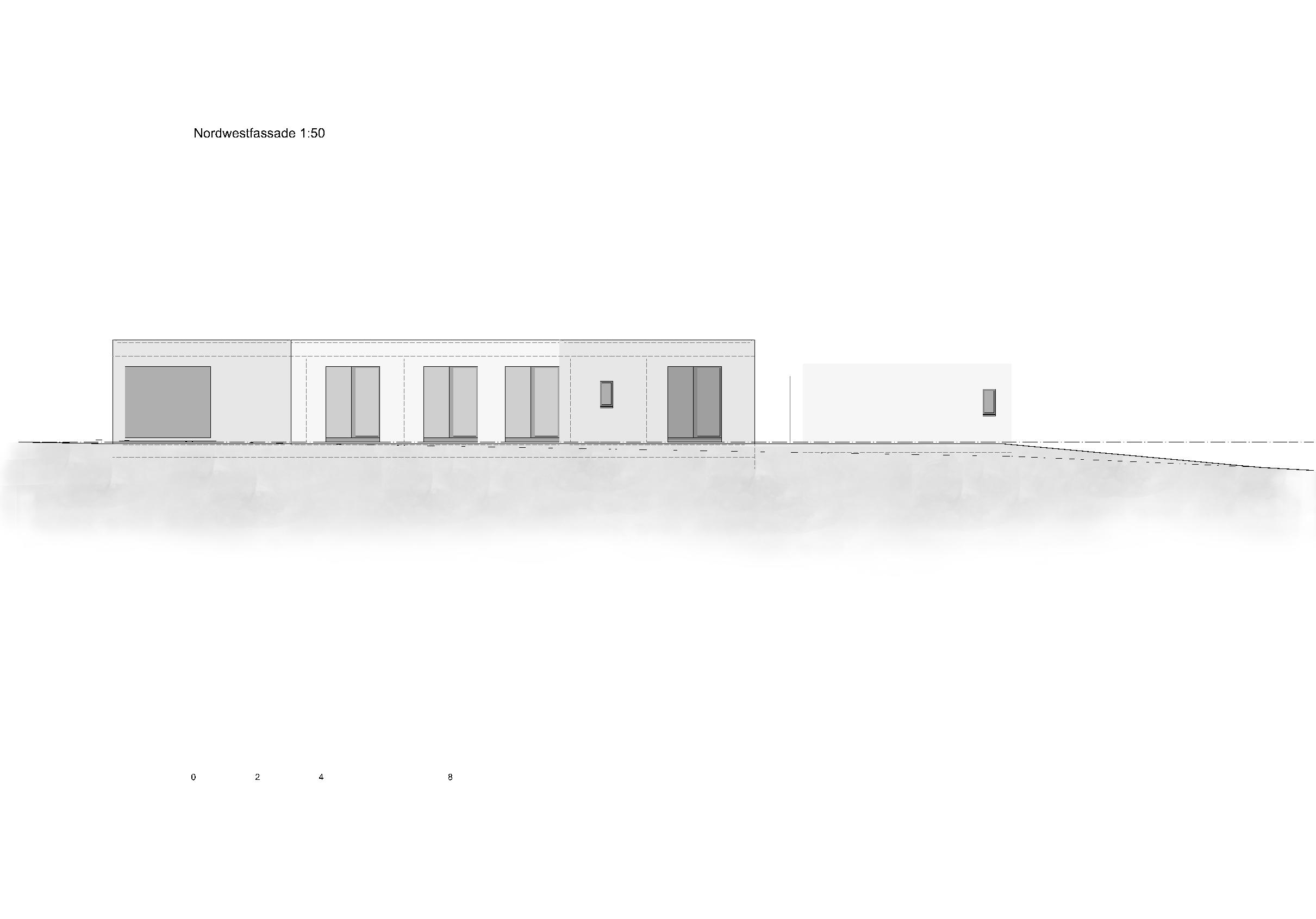 Nordwestfassade 1:50 Ersatzneubau - Bungalow Mediterrano von Studio Baumann